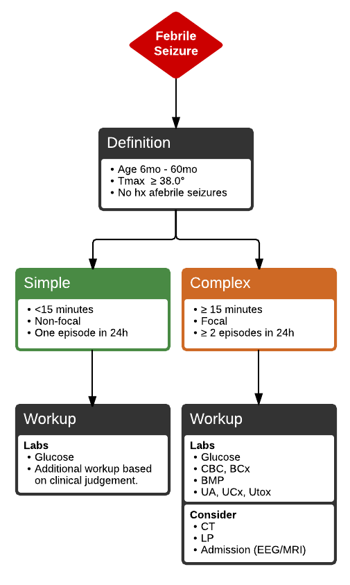 Algorithm for the differentiation between simple and complex febrile seizures. Guidelines for evaluation of each. #Diagnosis