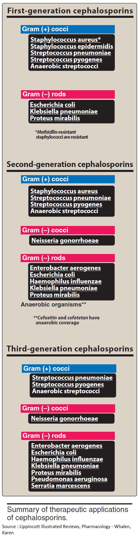 Cephalosporin Coverage First-generation cephalosporins:   - Gram (+) cocci: Staphylococcus aureus, Staphylococcus epidermidis, Streptococcus pneumoniae, Streptococcus pyogenes,
