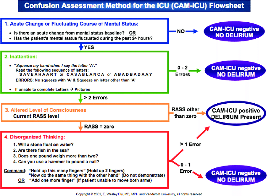 Confusion Assessment Method For The ICU CAM Flow Sheet Diagnosis