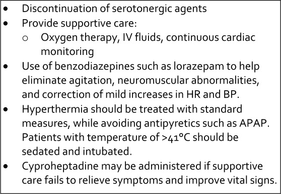 Treatment of serotonin syndrome The mainstay of therapy for
