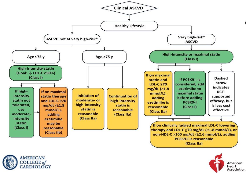 ACC/AHA 2018 Cholesterol Guideline Algorithm for Secondary Prevention  #Cholesterol #Guidelines #Algorithm #ACCAHA #2018 #Cardiology #Statins #PCSK9
