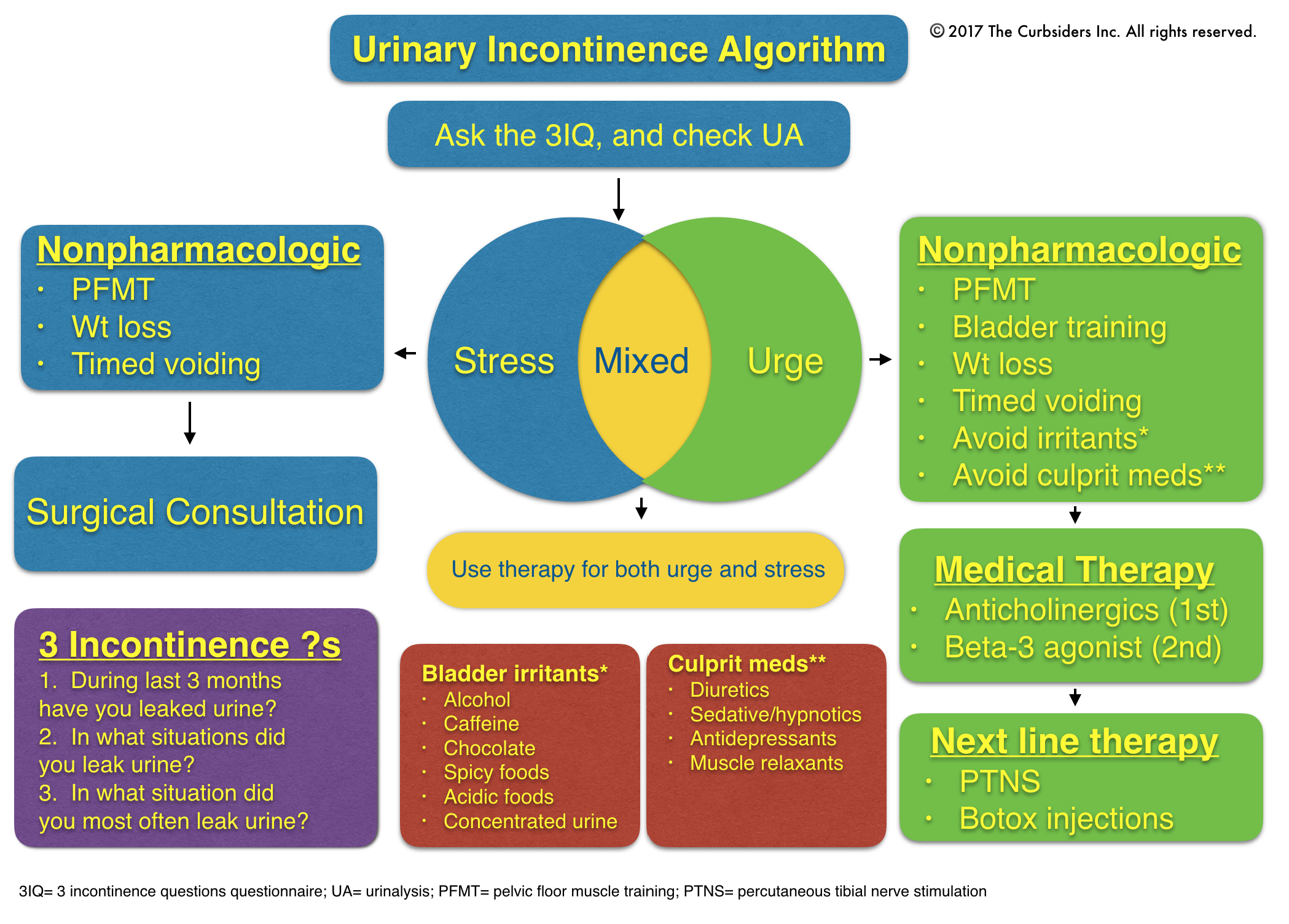 Urinary Incontinence Algorithm 3IQ Questionnaire: Helps