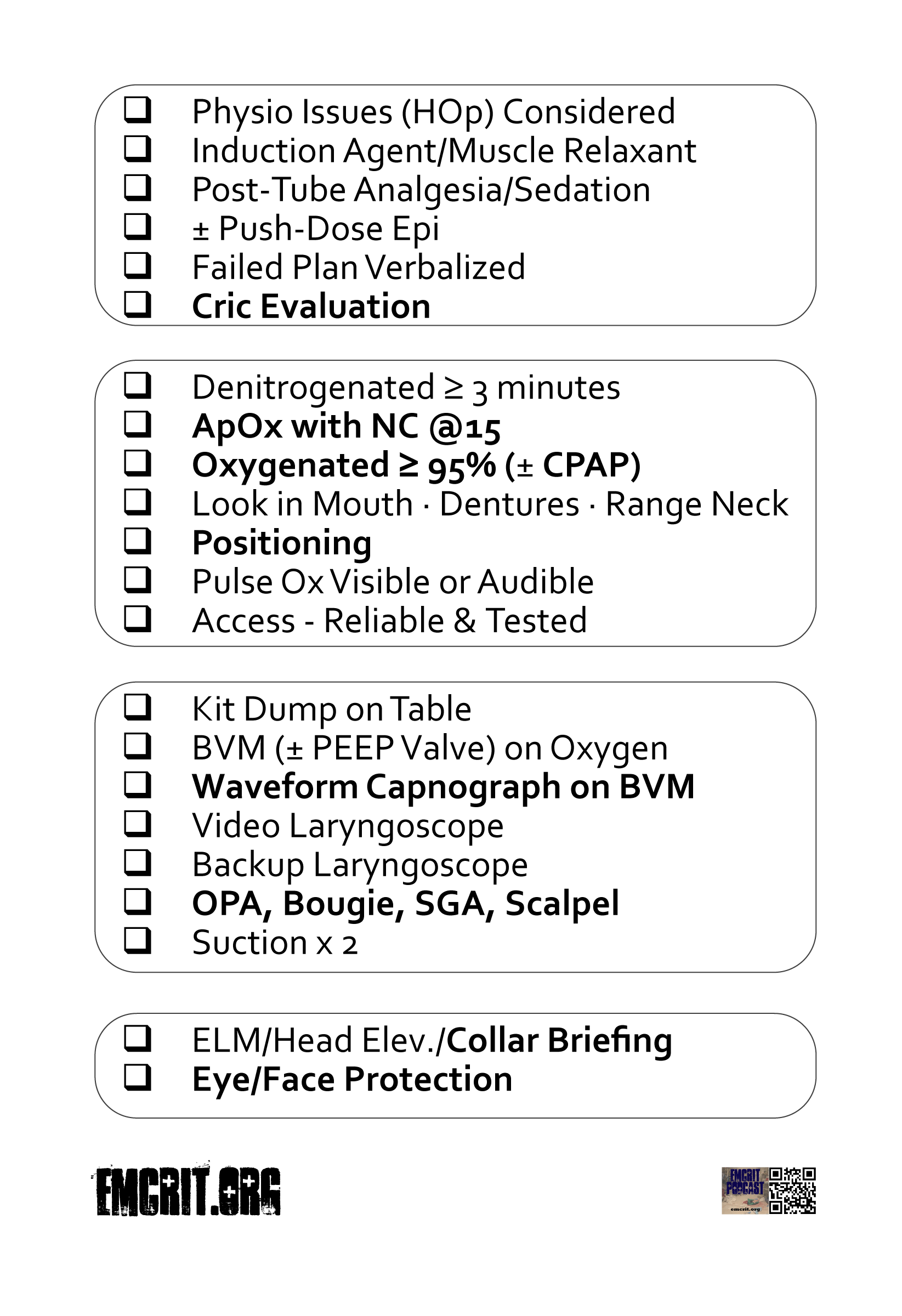 Pre RSI Checklist 