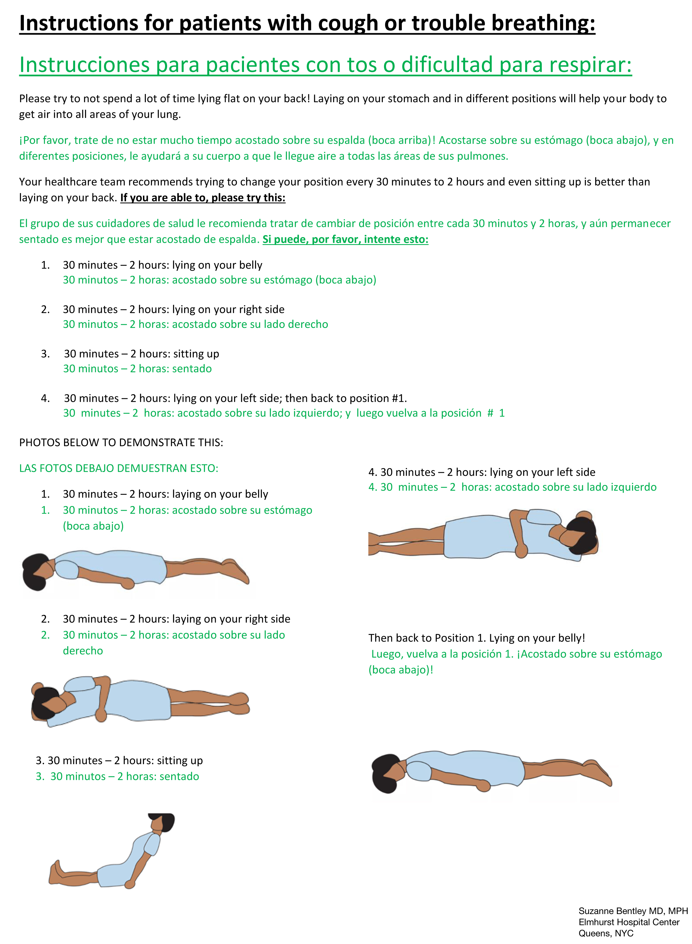 Elmhurst Hospital Awake Proning Instructions in English/Spanish 