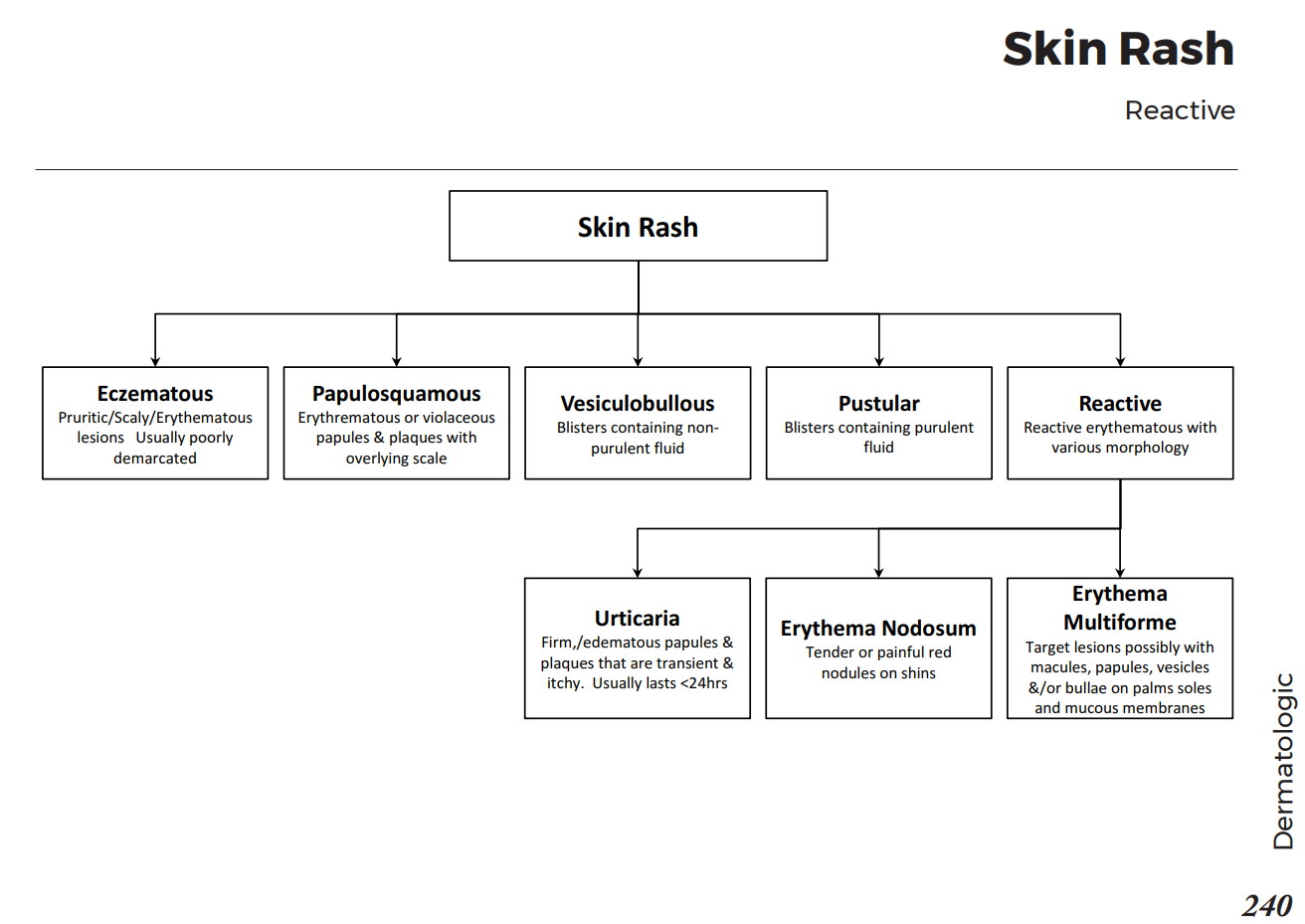 Reactive Skin Rash - Differential Diagnosis Algorithm Reactive erythematous  with various morphology •